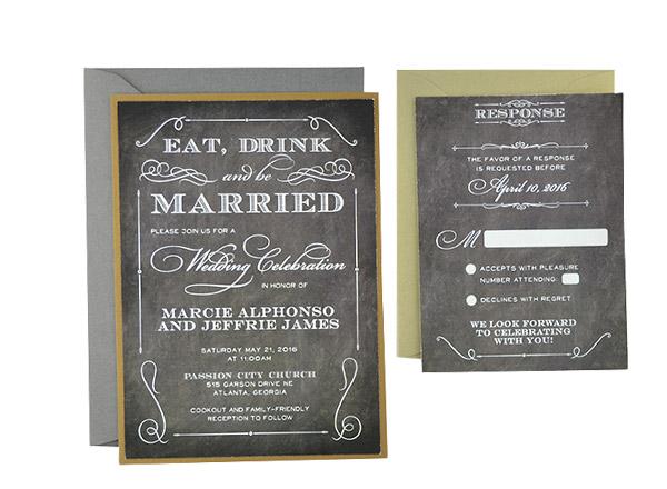 Elegant Chalkboard - Free Wedding Invitation Template