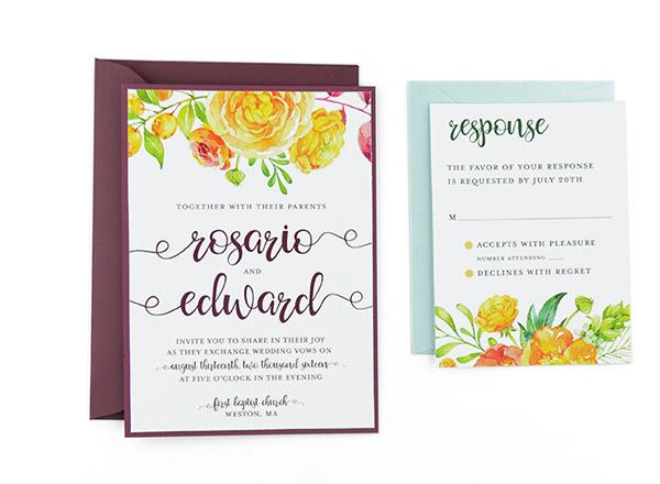 Summer Bouquet Free Wedding Invitation Template