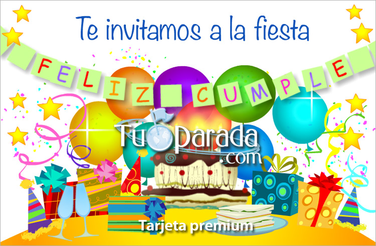 Enviar tarjeta, postal, Invitación con torta de cumpleaños