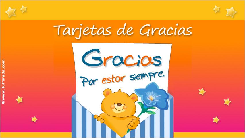 Tarjetas de gracias, postales de agradecimiento, tarjetas animadas