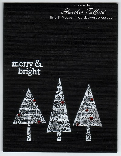 OLW 26 Black, white  red Heather Telford - christmas cards black and white