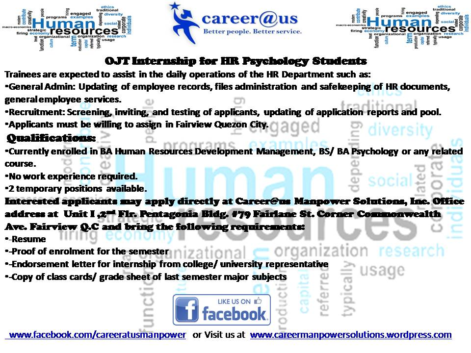 Career@us Manpower Solutions, Inc currently looking for OJT - looking for an internship