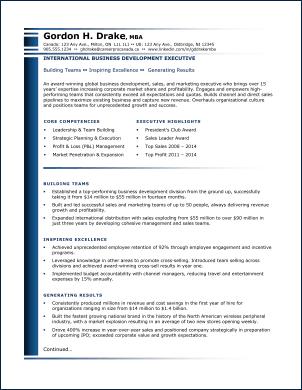 resume sample for canada job