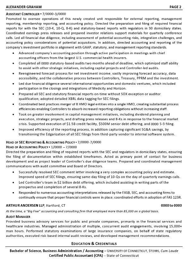 Resume Sample 6 - Controller - Chief Accounting Officer - Business - controller resume examples