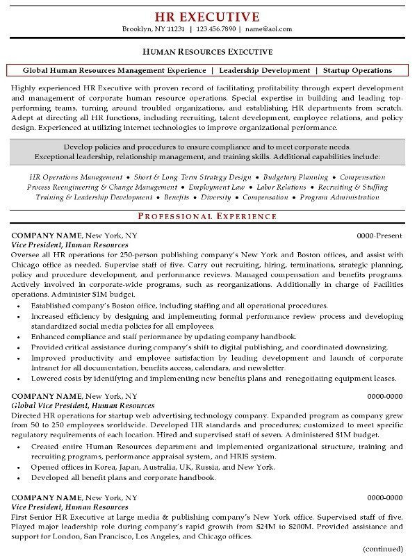 Resume Sample 20 - Human Resources Executive resume - Career Resumes - sample resume of hr