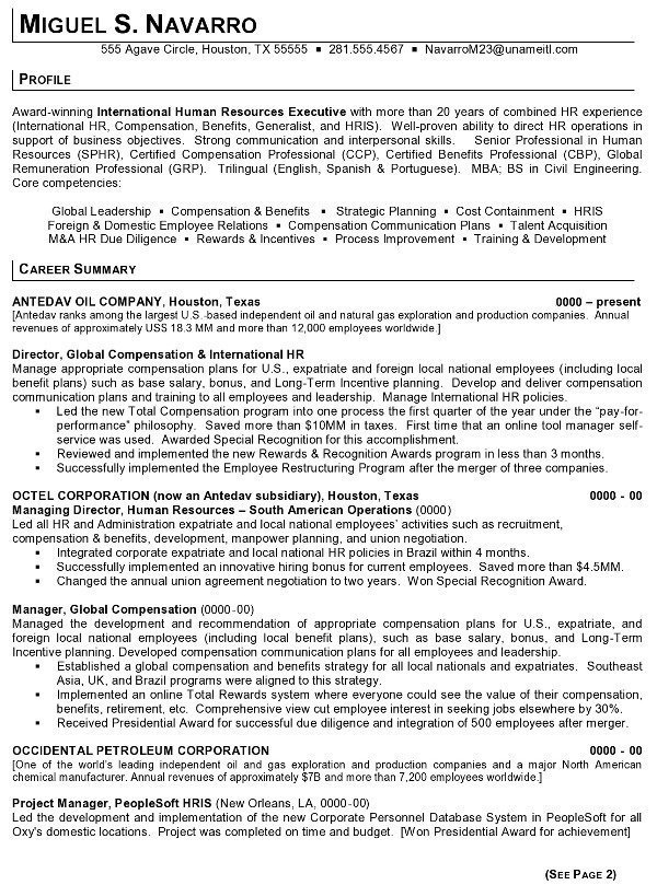 Resume Sample 11 - International Human Resource Executive resume - Hr Manager Resumes