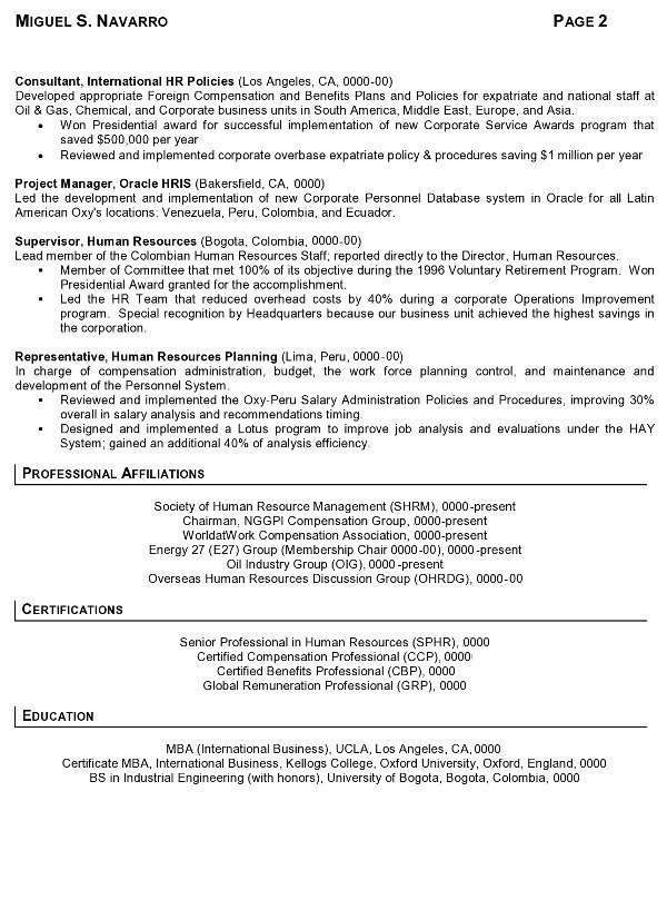 Resume Sample 11 - International Human Resource Executive resume - resume examples for professional jobs