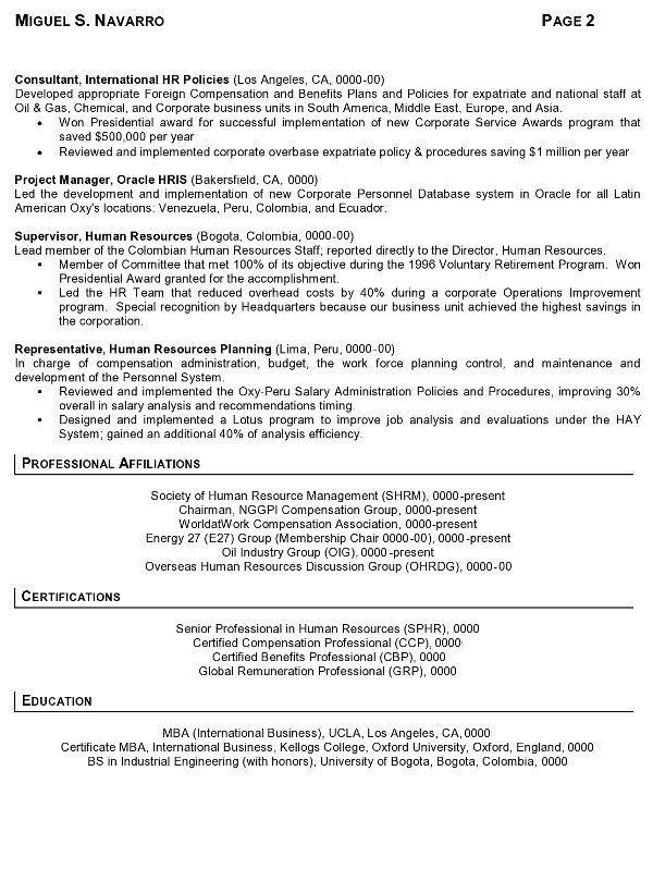 international hr resume sample