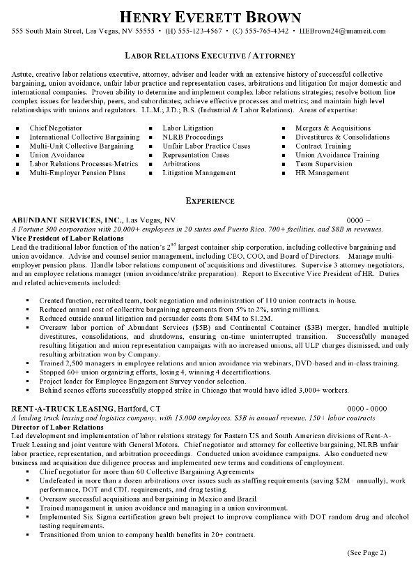 Resume Sample 7 - Attorney resume - Labor Relations Executive - sample resumes for attorneys