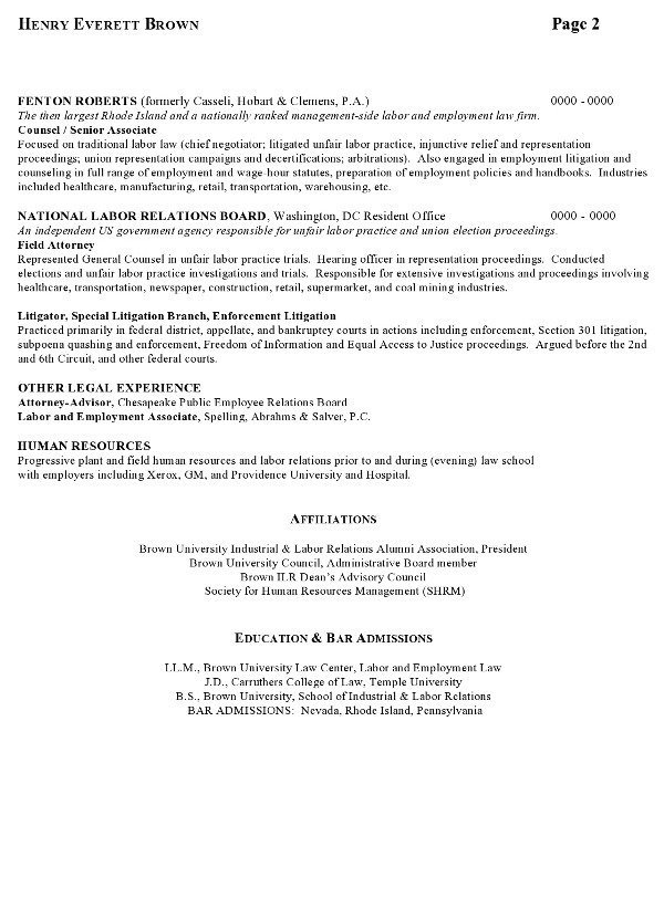 Resume Sample 7 - Attorney resume - Labor Relations Executive