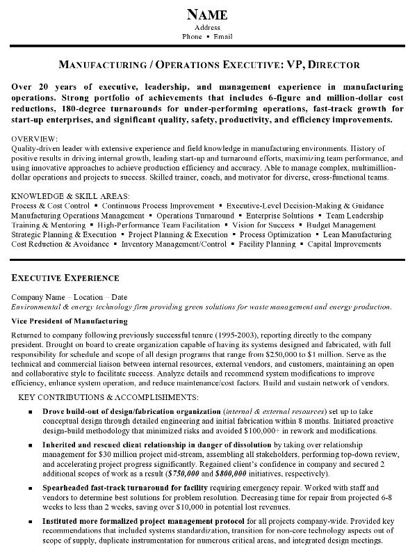 Resume Sample 15 - Manufacturing and Operations Executive resume - sample resume manufacturing
