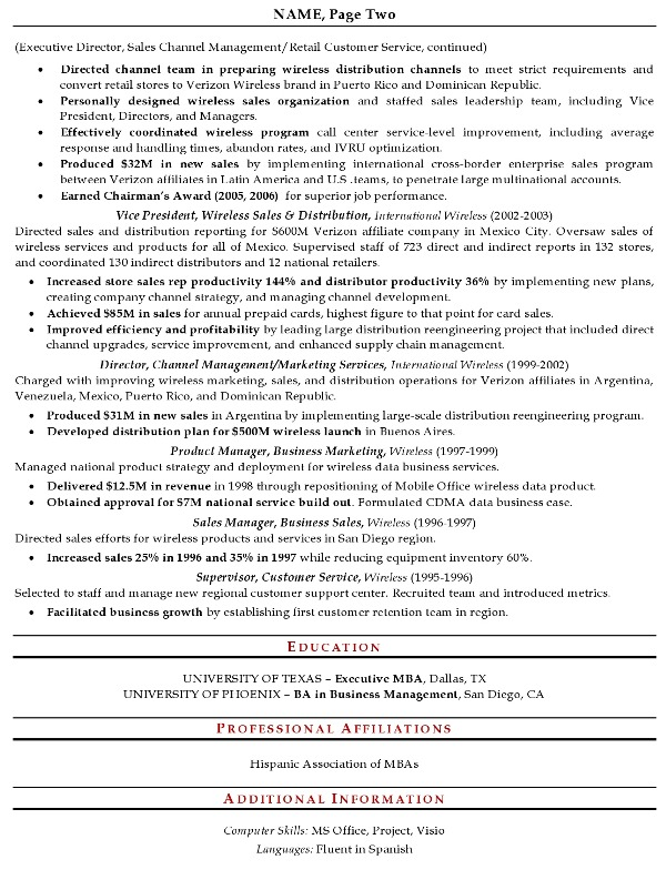 Resume Sample 16 - Senior Sales Executive resume - Career Resumes - Executive Sample Resumes