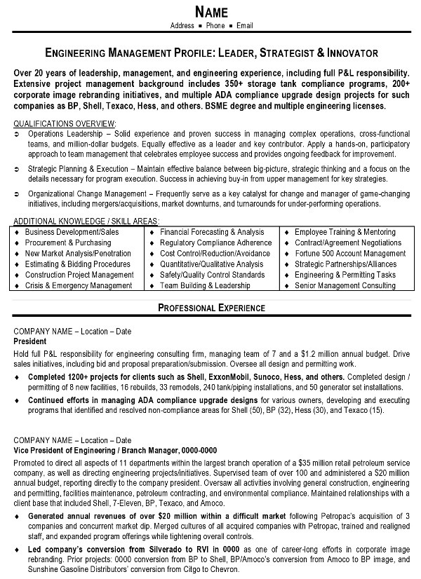 Resume Sample 10 - Engineering Management resume - Career Resumes - profile on a resume example
