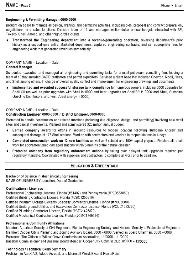 Resume Sample 10 - Engineering Management resume - Career Resumes - resume example engineer