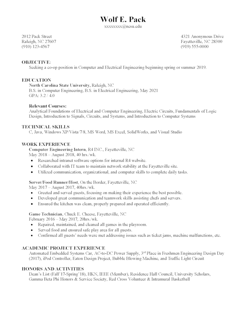 co op resume template concordia