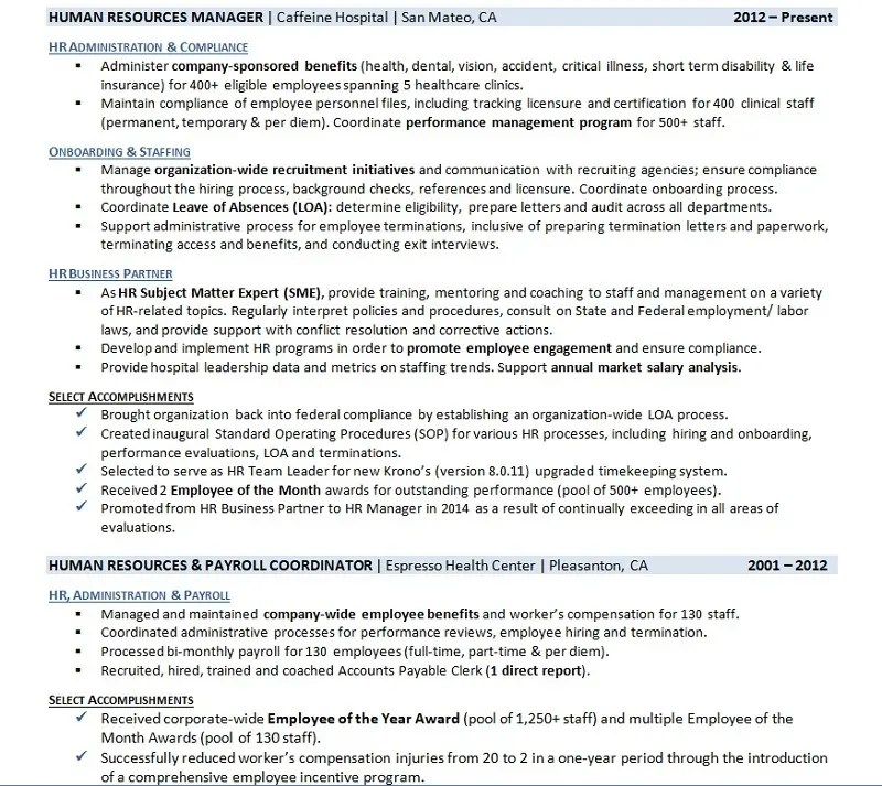 Resume Employment History Samples That Get Interviews \u2022 Career Sidekick - resume work