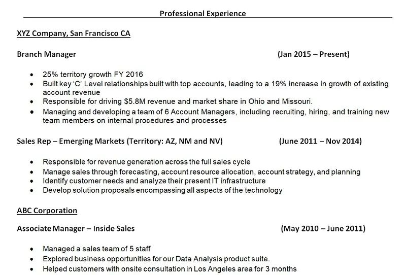 resume work history sales