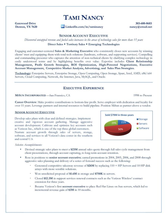 Senior Account Executive u2014 Premium Resume Writing Services - resume for executives
