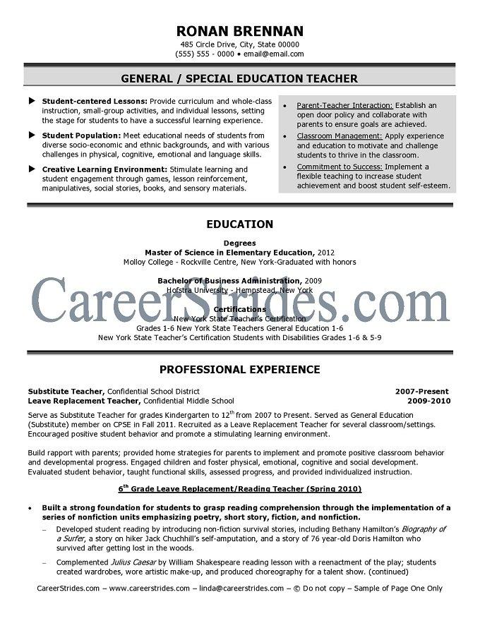 Elementary School Teacher Resume Sample | Sample Resume Service