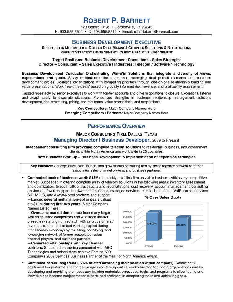 Business Development Executive Resume Service - business major resume
