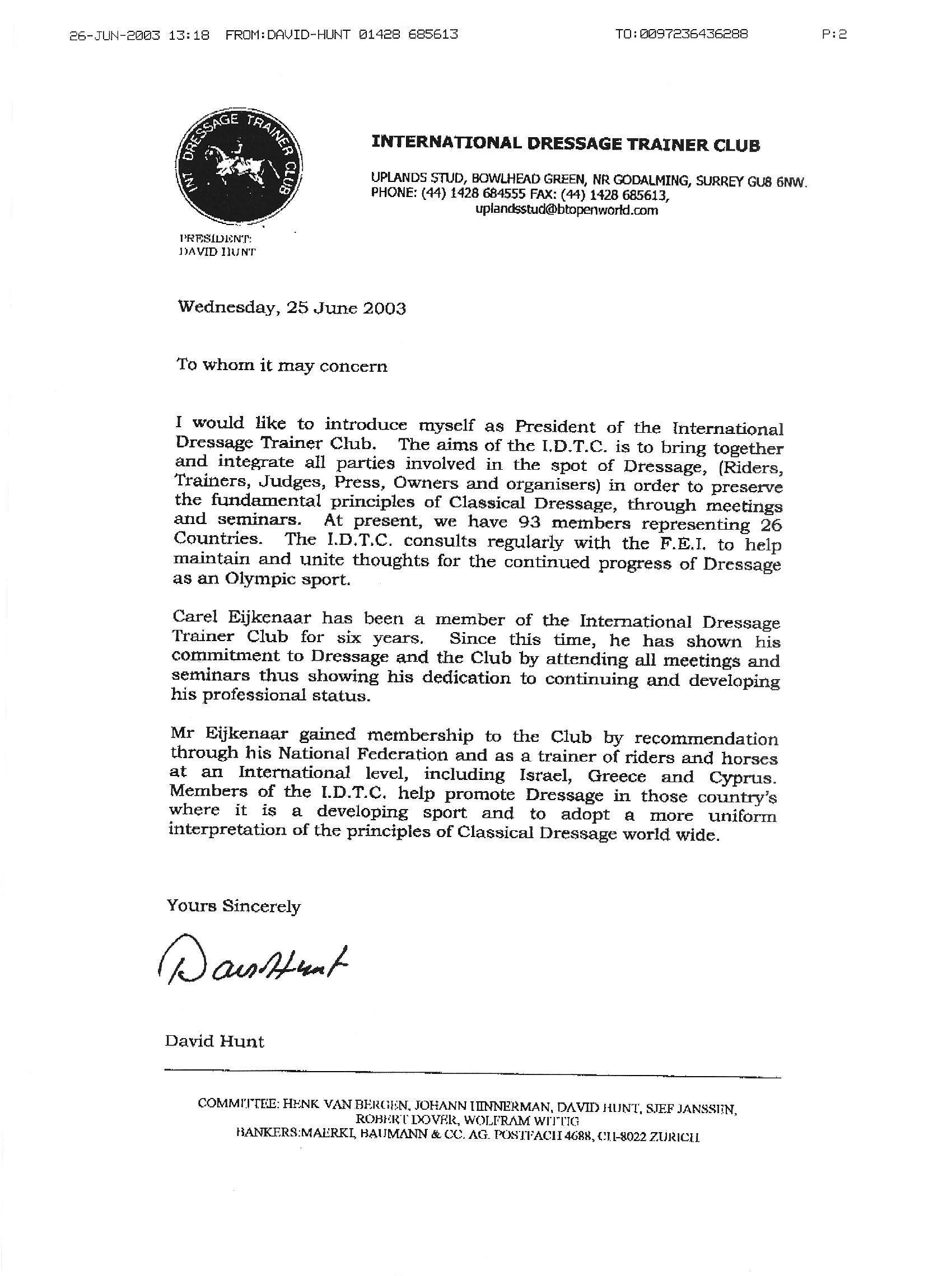 Recommendation Letter Sample Recommendation Letter Recommendations Carel Eijkenaar Dressage