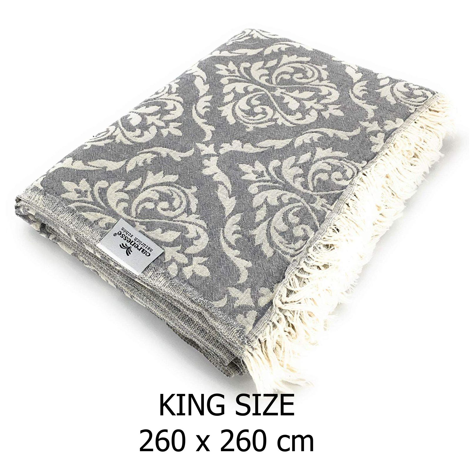Couchdecke Grau Details About Plaid Bedspread Baroque King Size Grey Bed Sofa Blanket Sofa Blanket 260 X 260 Cm Cotton Show Original Title