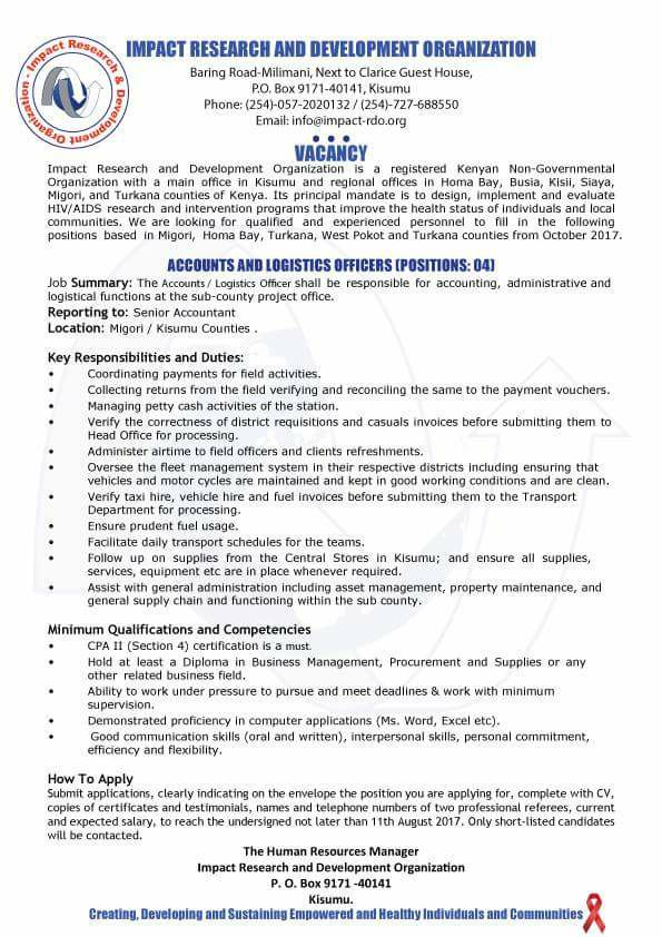 Impact Research And Development Organization \u2013 Accounts and - logistics officer job description