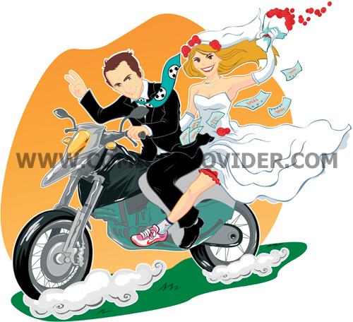 caricatura di sposi su una moto