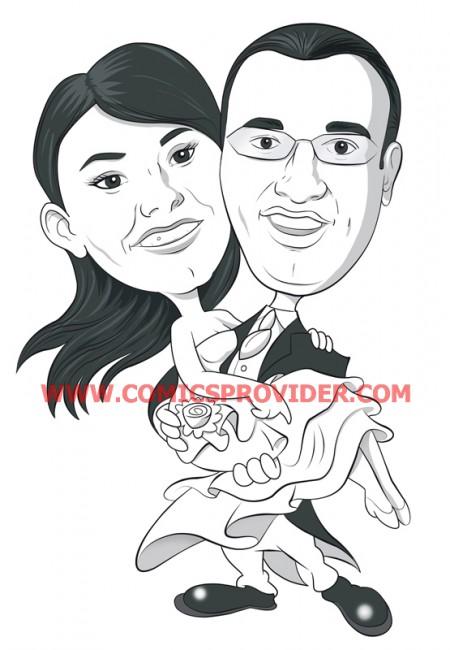 caricatura sposa in braccio allo sposo