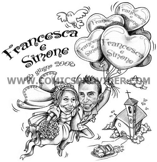 Caricatura sposi per partecipazione di nozze
