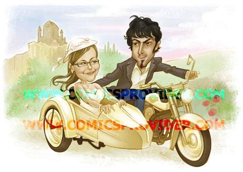 Caricatura sposi in sidecar, realizzata in stile light, è una soluzione originale  per una partecipazione personalizzata.