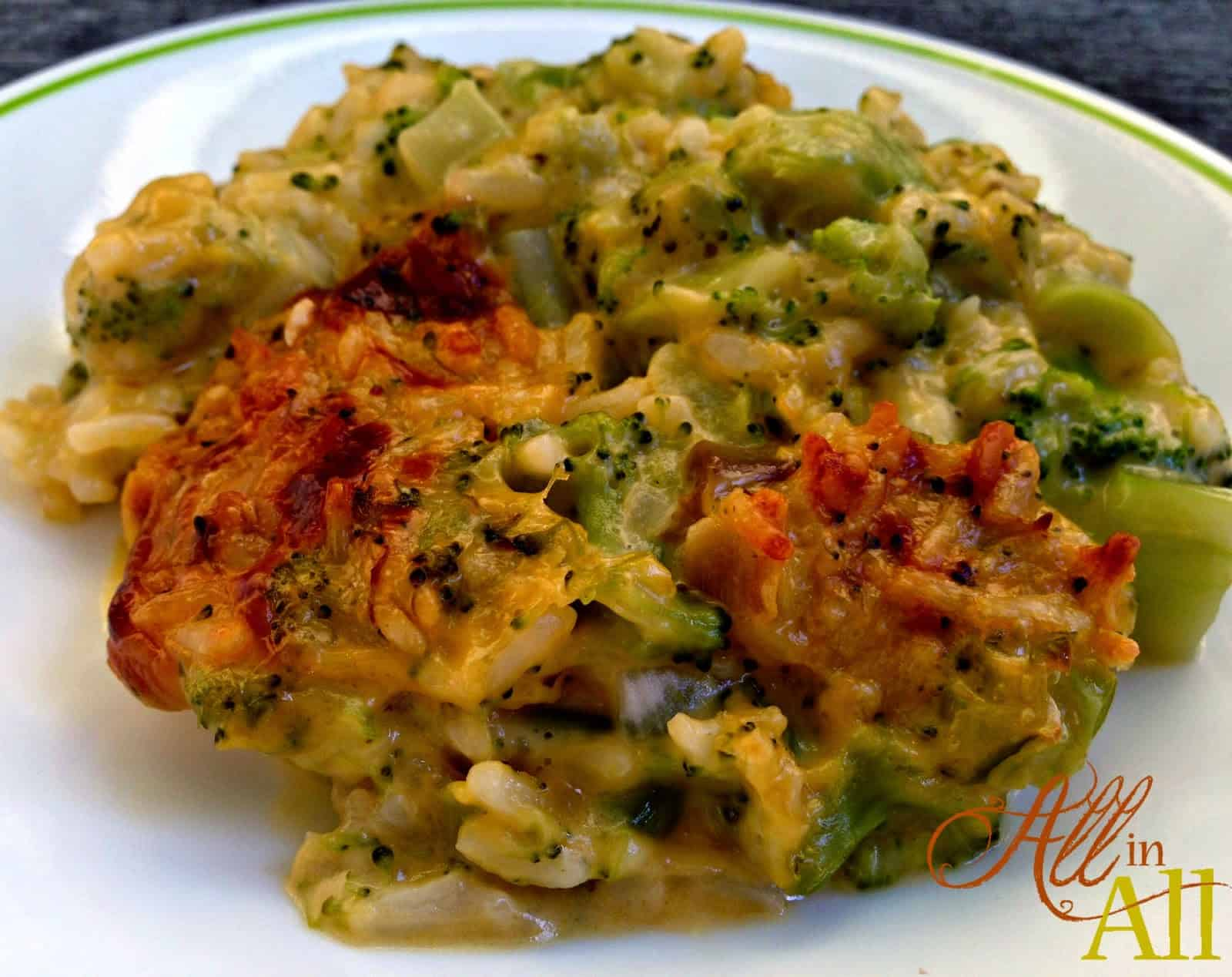 Cheesy Broccoli Rice Casserole - All in All
