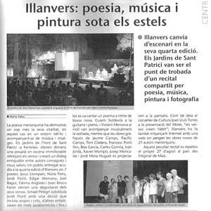 «Illanvers: poesia, música i pintura sota els estels»