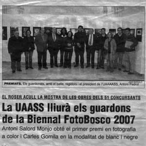 «La UAASS lliurà els guardons de la Biennal Fotobosco 2007»