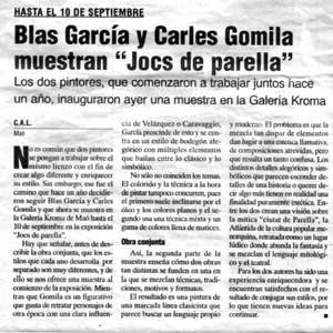 «Blas García y Carles Gomila muestran 'Jocs de Parella'»