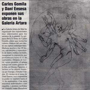 «Carles Gomila y Dani Ensesa exponen sus obras en la Galería Artara»