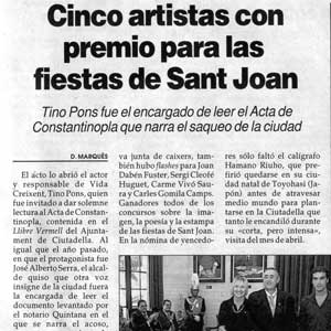 «Cinco artistas con premio para las fiestas de Sant Joan»