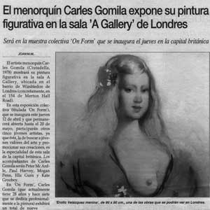 «El menorquín Carles Gomila expone su pintura figurativa en la sala 'A Gallery' de Londres»