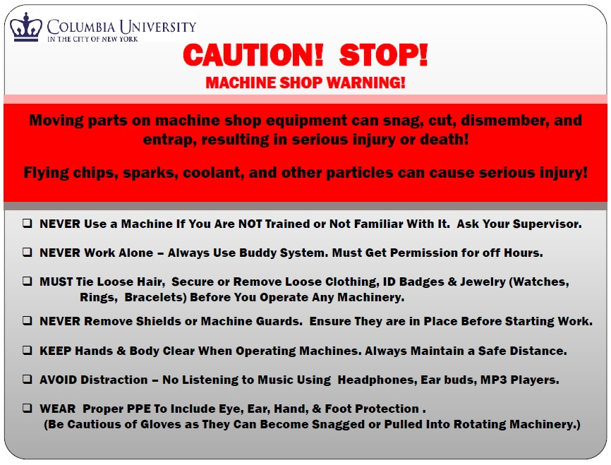 Machine Shop Safety Rules Carleton Laboratory Website - mechanical equipments list