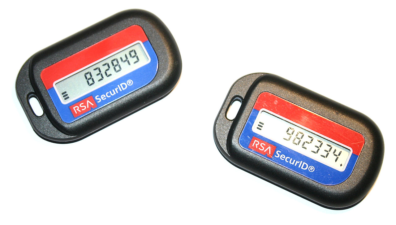 Security tokens from RSA Security designed as key fobs.