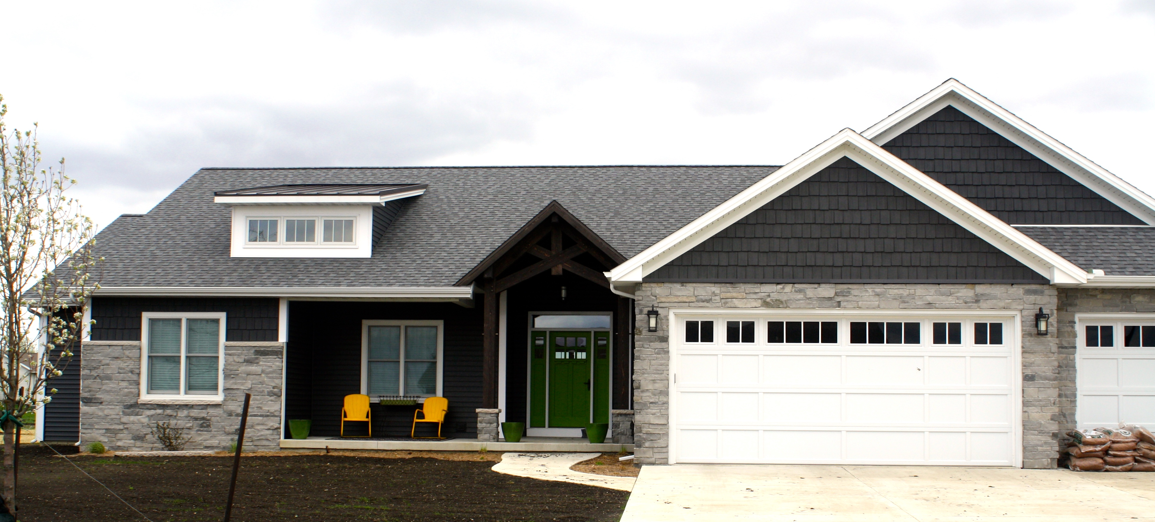 Garage Door Parts El Paso Ironstone Dark Grey Siding With Pewter Grey Shingles And White