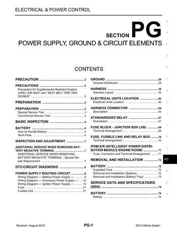 2013 Nissan Altima - Power Supply, Ground  Circuit Elements
