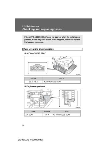 2012 Toyota Sienna - Maintenance - PDF Manual (5 Pages)