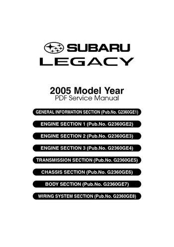 2005 Subaru Legacy - Service manual - PDF (4610 Pages)