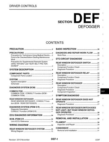 Download 2011 Nissan Leaf - Defogger (Section DEF) PDF Manual (31 Pages)
