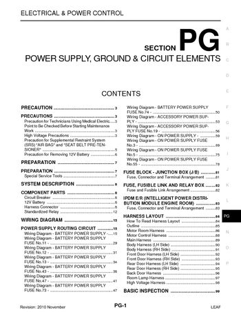 2011 Nissan Leaf - Power Supply, Ground  Circuit Elements (Section