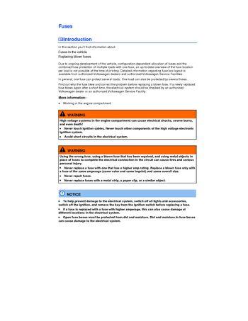 2014 Volkswagen Beetle - Fuses - PDF Manual (5 Pages)