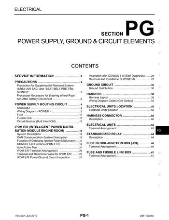 2011 Nissan Sentra - Power Supply, Ground  Circuit Elements