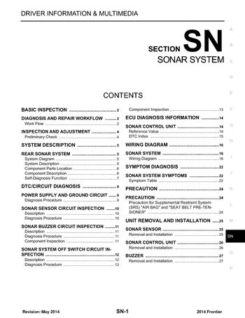 2014 Nissan Frontier - Sonar System (Section SN) - PDF Manual (27 Pages)