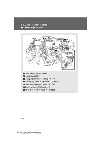 2013 Toyota Sienna - Using the interior lights - PDF Manual (6 Pages)